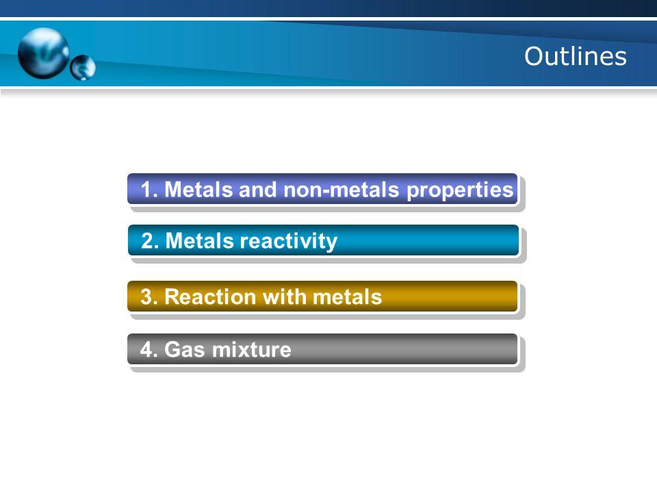 Outlines 1. Metals and non-metals properties 2. Metals reactivity 3.