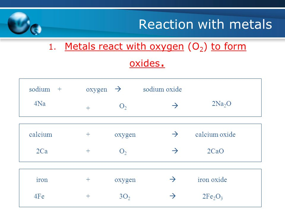 Reaction with metals 1. Metals react with oxygen (O 2 ) to form oxides.
