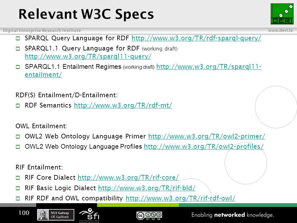 Digital Enterprise Research Institute www.deri.ie Relevant W3C Specs  SPARQL Query Language for RDF http://www.w3.org/TR/rdf-sparql-query/http://www.w3.org/TR/rdf-sparql-query/  SPARQL1.1 Query Language for RDF (working draft) http://www.w3.org/TR/sparql11-query/ http://www.w3.org/TR/sparql11-query/  SPARQL1.1 Entailment Regimes (working draft) http://www.w3.org/TR/sparql11- entailment/ http://www.w3.org/TR/sparql11- entailment/ RDF(S) Entailment/D-Entailment:  RDF Semantics http://www.w3.org/TR/rdf-mt/http://www.w3.org/TR/rdf-mt/ OWL Entailment:  OWL2 Web Ontology Language Primer http://www.w3.org/TR/owl2-primer/http://www.w3.org/TR/owl2-primer/  OWL2 Web Ontology Language Profiles http://www.w3.org/TR/owl2-profiles/ http://www.w3.org/TR/owl2-profiles/ RIF Entailment:  RIF Core Dialect http://www.w3.org/TR/rif-core/http://www.w3.org/TR/rif-core/  RIF Basic Logic Dialect http://www.w3.org/TR/rif-bld/http://www.w3.org/TR/rif-bld/  RIF RDF and OWL compatibility http://www.w3.org/TR/rif-rdf-owl/http://www.w3.org/TR/rif-rdf-owl/ 100
