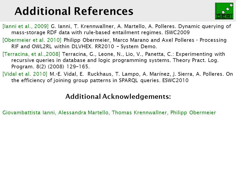 Digital Enterprise Research Institute www.deri.ie Additional References [Ianni et al., 2009] G.