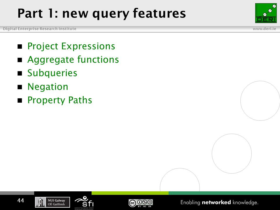 Digital Enterprise Research Institute www.deri.ie Part 1: new query features Project Expressions Aggregate functions Subqueries Negation Property Paths 44