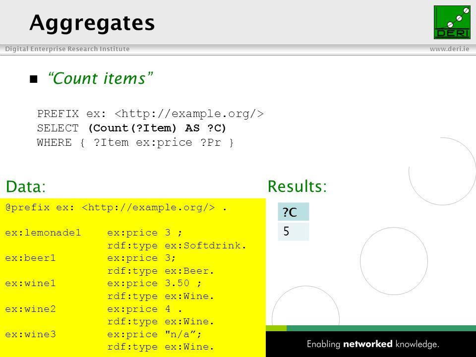 Digital Enterprise Research Institute www.deri.ie 48 Aggregates Count items PREFIX ex: SELECT (Count( Item) AS C) WHERE { Item ex:price Pr } @prefix ex:.
