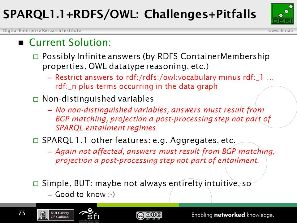 Digital Enterprise Research Institute www.deri.ie SPARQL1.1+RDFS/OWL: Challenges+Pitfalls Current Solution:  Possibly Infinite answers (by RDFS ContainerMembership properties, OWL datatype reasoning, etc.) – Restrict answers to rdf:/rdfs:/owl:vocabulary minus rdf:_1 … rdf:_n plus terms occurring in the data graph  Non-distinguished variables – No non-distinguished variables, answers must result from BGP matching, projection a post-processing step not part of SPARQL entailment regimes.