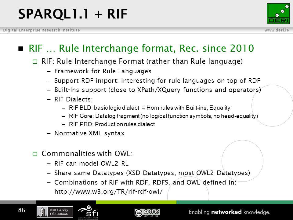 Digital Enterprise Research Institute www.deri.ie SPARQL1.1 + RIF RIF … Rule Interchange format, Rec.