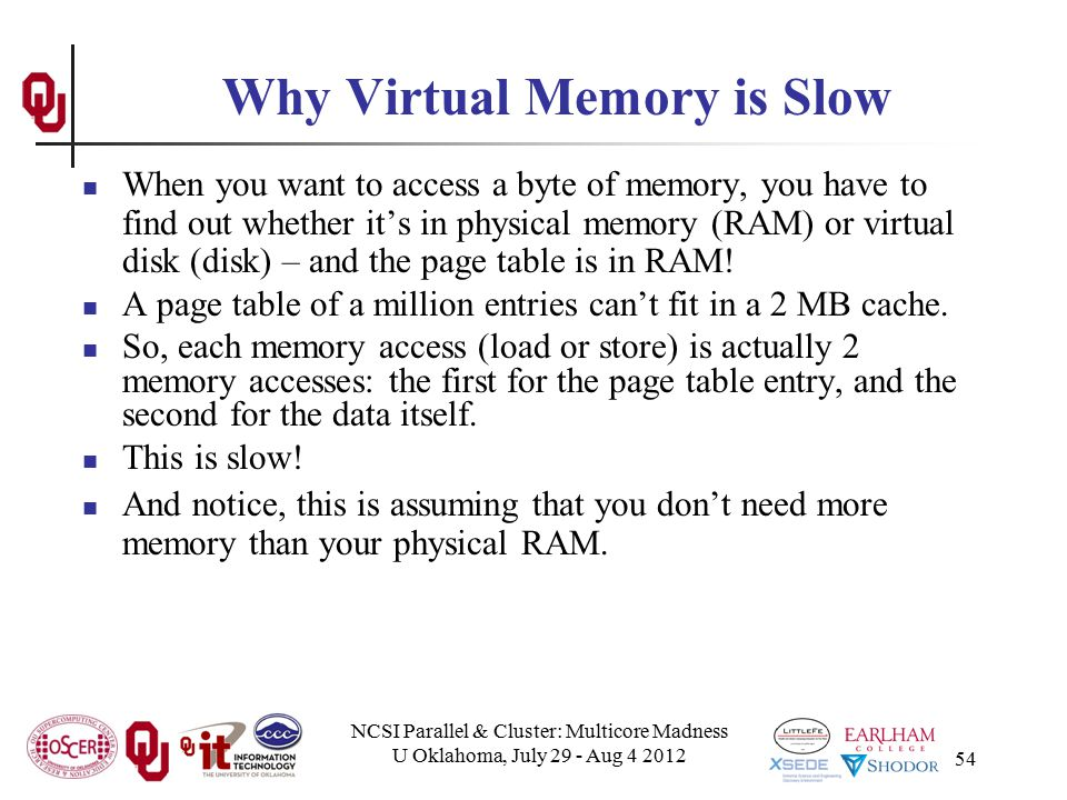 NCSI Parallel & Cluster: Multicore Madness U Oklahoma, July 29 - Aug 4 2012 54 Why Virtual Memory is Slow When you want to access a byte of memory, yo