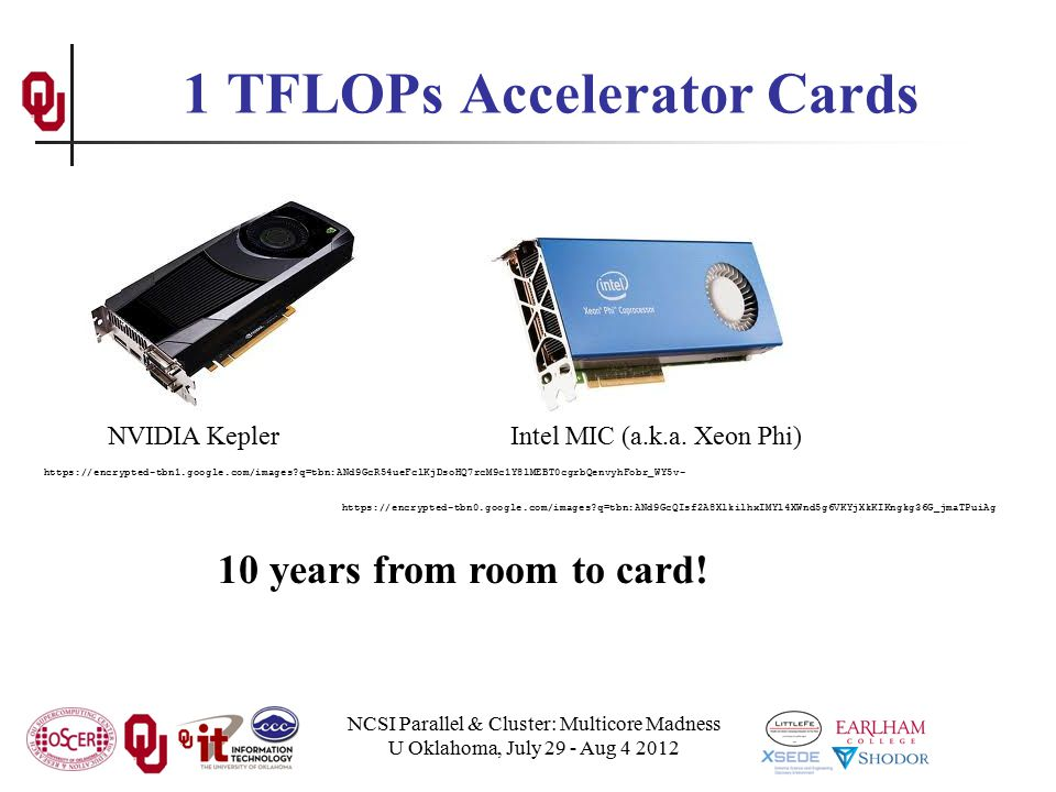 NCSI Parallel & Cluster: Multicore Madness U Oklahoma, July 29 - Aug 4 2012 1 TFLOPs Accelerator Cards NVIDIA KeplerIntel MIC (a.k.a.