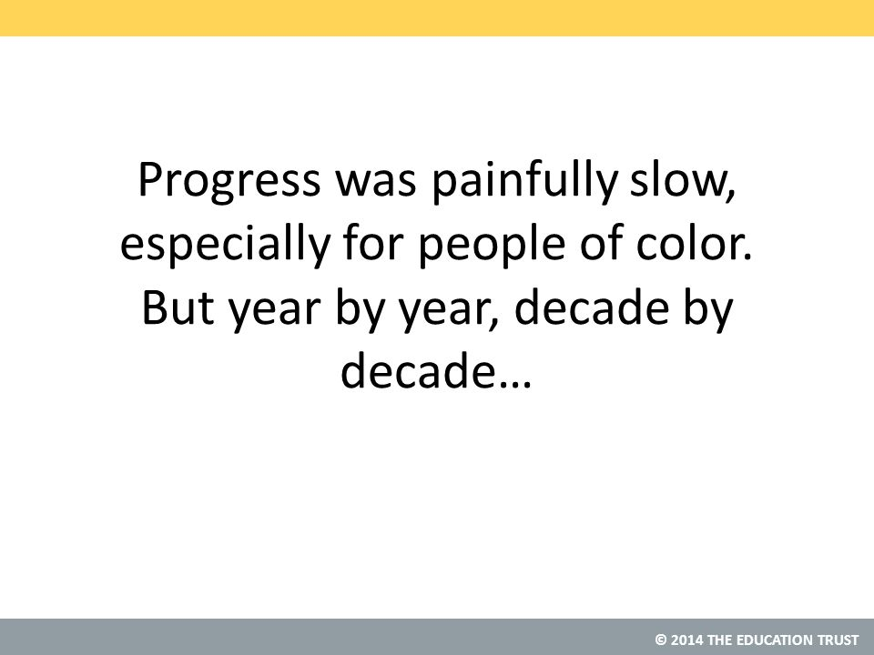 © 2014 THE EDUCATION TRUST Progress was painfully slow, especially for people of color.