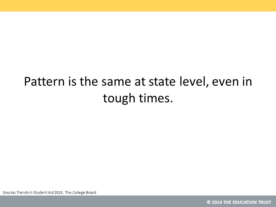 © 2014 THE EDUCATION TRUST Pattern is the same at state level, even in tough times.