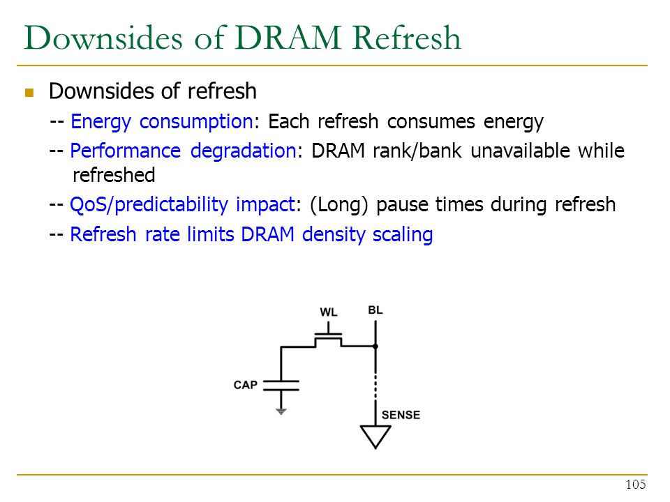 Downsides of refresh -- Energy consumption: Each refresh consumes energy -- Performance degradation: DRAM rank/bank unavailable while refreshed -- QoS