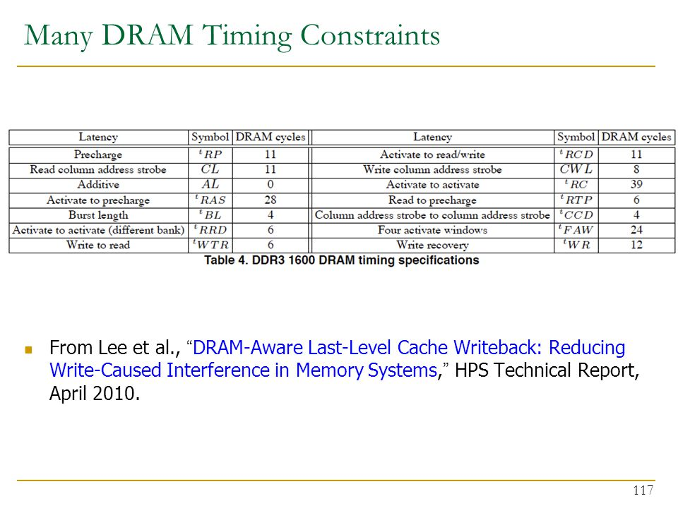 """Many DRAM Timing Constraints From Lee et al., """"DRAM-Aware Last-Level Cache Writeback: Reducing Write-Caused Interference in Memory Systems,"""" HPS Techn"""