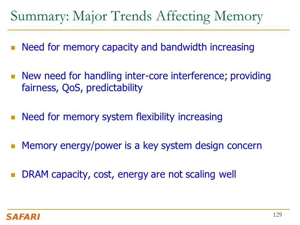 Summary: Major Trends Affecting Memory Need for memory capacity and bandwidth increasing New need for handling inter-core interference; providing fair