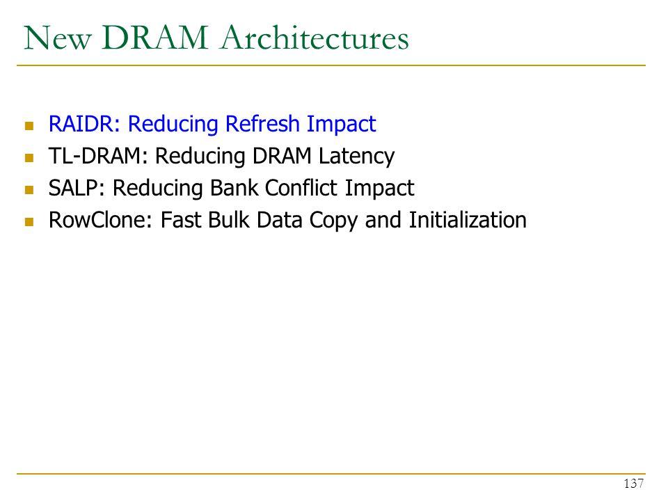 New DRAM Architectures RAIDR: Reducing Refresh Impact TL-DRAM: Reducing DRAM Latency SALP: Reducing Bank Conflict Impact RowClone: Fast Bulk Data Copy