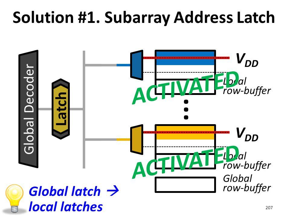 Local row-buffer Global row-buffer Solution #1. Subarray Address Latch 207 ··· V DD Global Decoder V DD Latch ACTIVATED Global latch  local latches