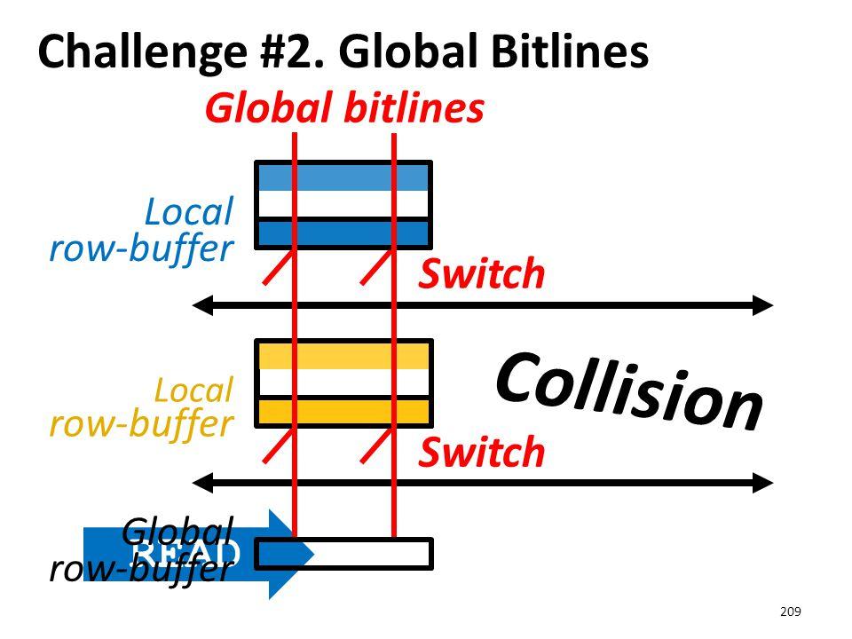 Challenge #2. Global Bitlines 209 Local row-buffer Switch READ Global bitlines Global row-buffer Collision
