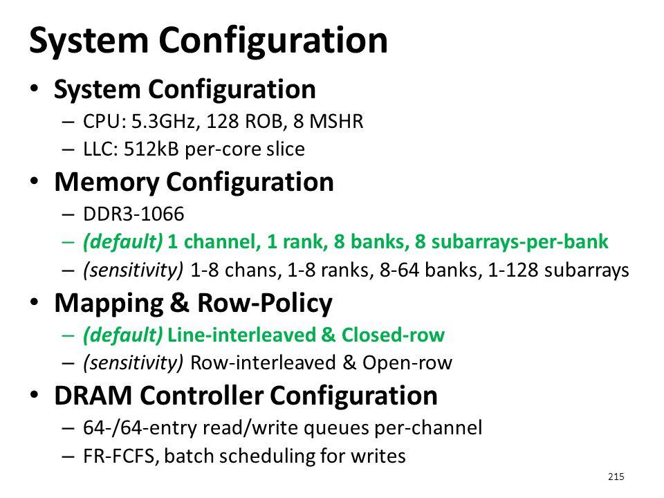 System Configuration – CPU: 5.3GHz, 128 ROB, 8 MSHR – LLC: 512kB per-core slice Memory Configuration – DDR3-1066 – (default) 1 channel, 1 rank, 8 bank