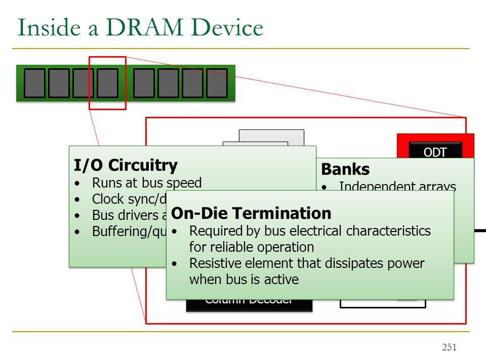Inside a DRAM Device 251 Bank 0 Sense Amps Column Decoder Sense Amps Column Decoder Row Decoder ODT Recievers Drivers Registers Write FIFO Banks Indep