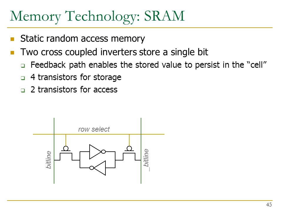 """Static random access memory Two cross coupled inverters store a single bit  Feedback path enables the stored value to persist in the """"cell""""  4 trans"""