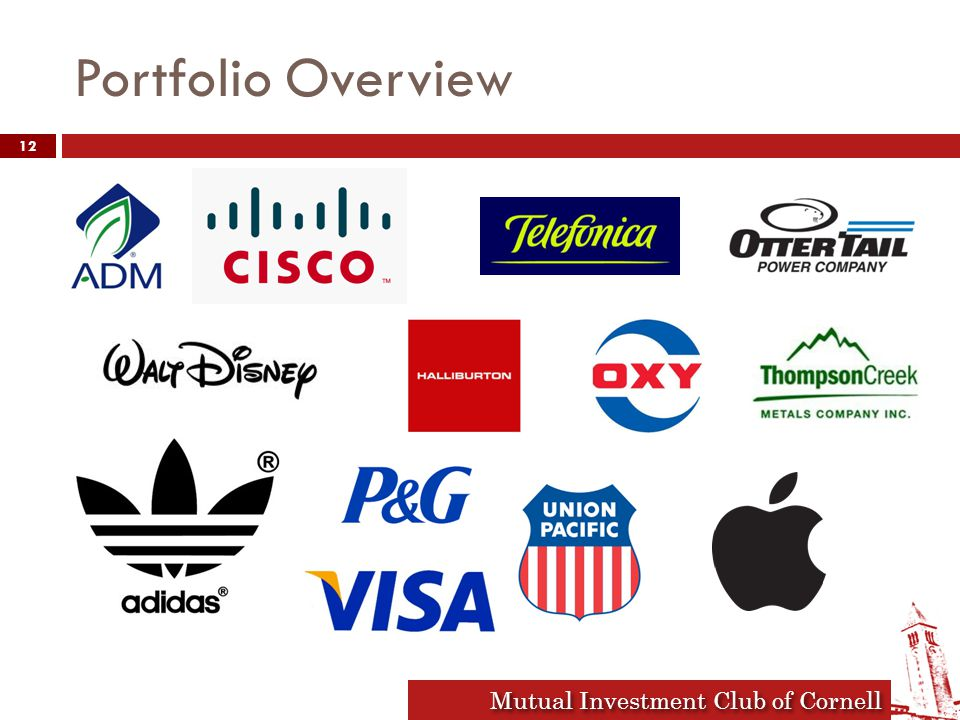 Mutual Investment Club of Cornell Portfolio Overview 12