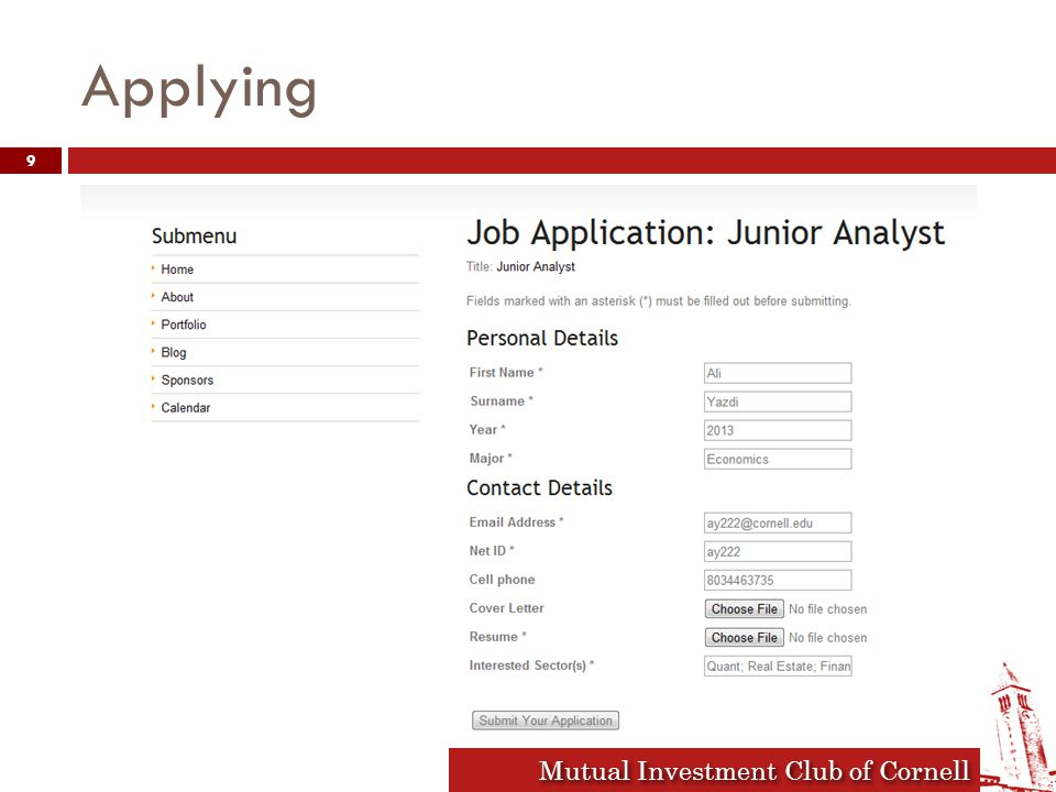 Mutual Investment Club of Cornell Applying 9