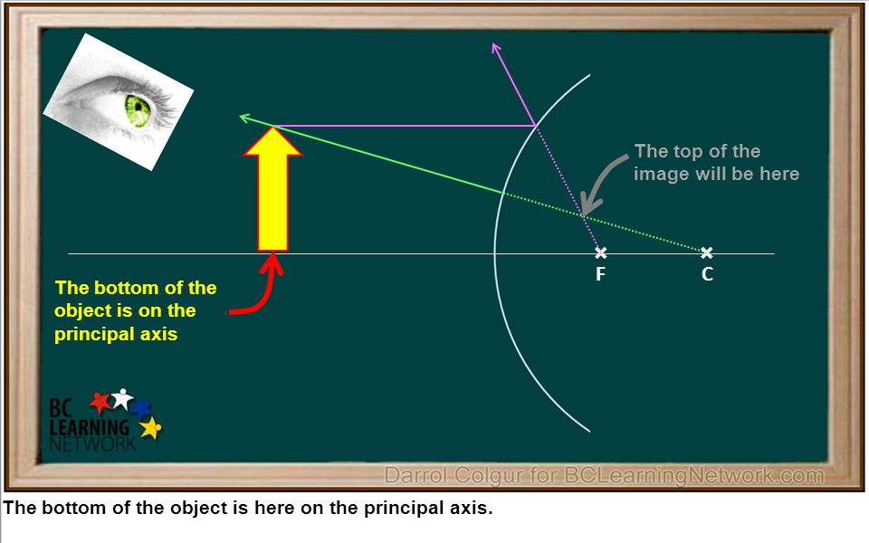 × The bottom of the object is here on the principal axis.