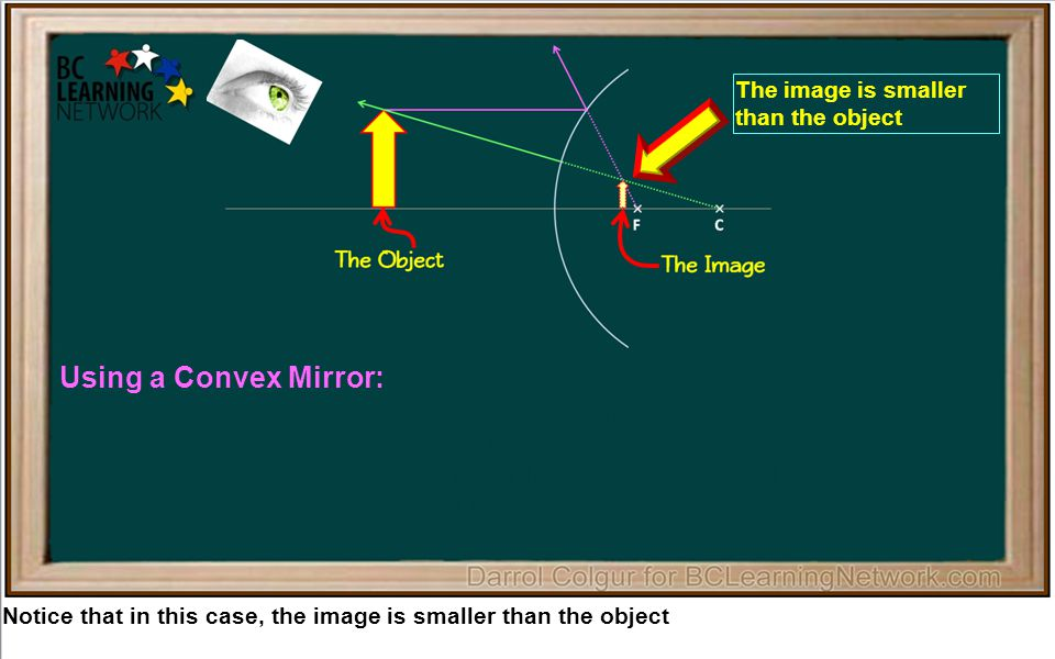 Notice that in this case, the image is smaller than the object Using a Convex Mirror: 1.The image is always smaller than the object 2.The image is never inverted (it is right side up) 3.The image is always behind the mirror inside the focal point 4.The image is always a virtual image The image is smaller than the object