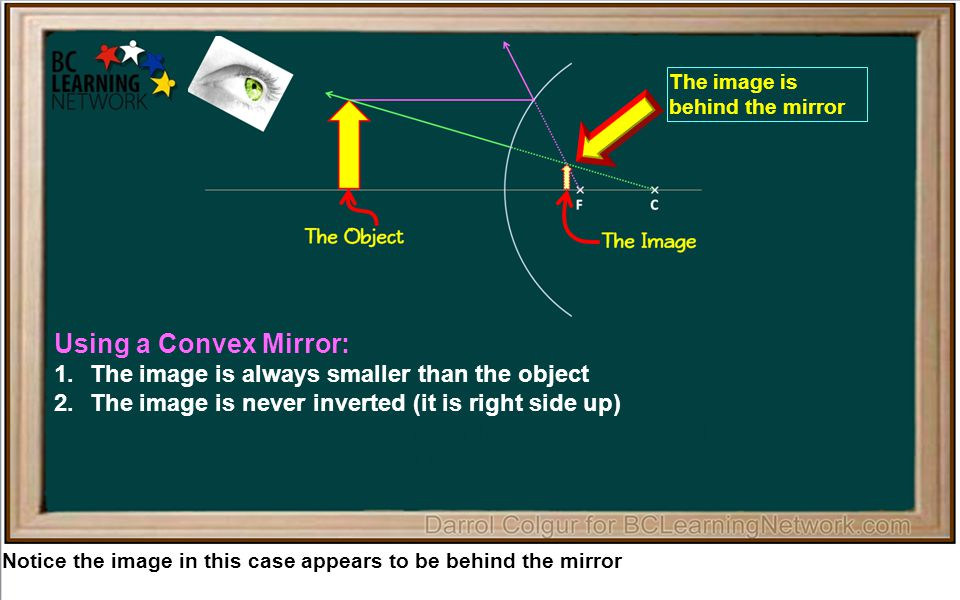 Notice the image in this case appears to be behind the mirror Using a Convex Mirror: 1.The image is always smaller than the object 2.The image is never inverted (it is right side up) 3.The image is always behind the mirror inside the focal point 4.The image is always a virtual image The image is behind the mirror