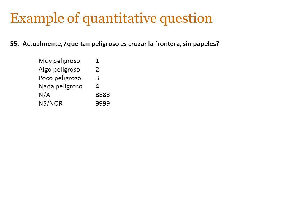 Example of quantitative question 55. Actualmente, ¿qué tan peligroso es cruzar la frontera, sin papeles? Muy peligroso1 Algo peligroso2 Poco peligroso