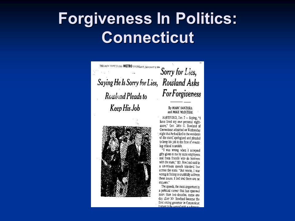 Forgiveness In Politics: Connecticut