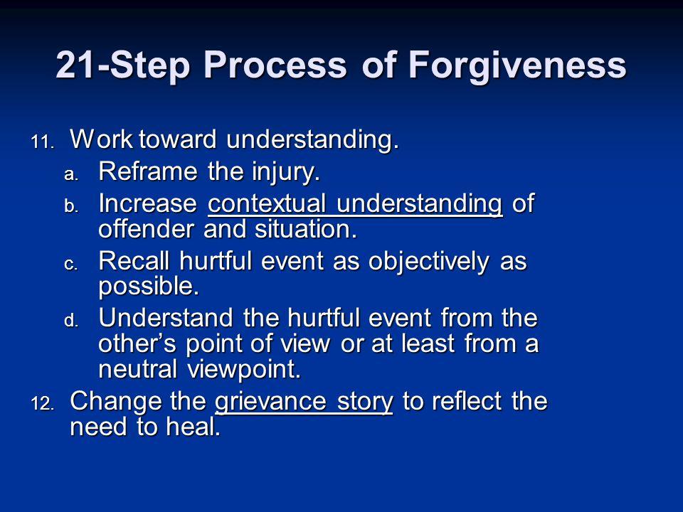 11. Work toward understanding. a. Reframe the injury.