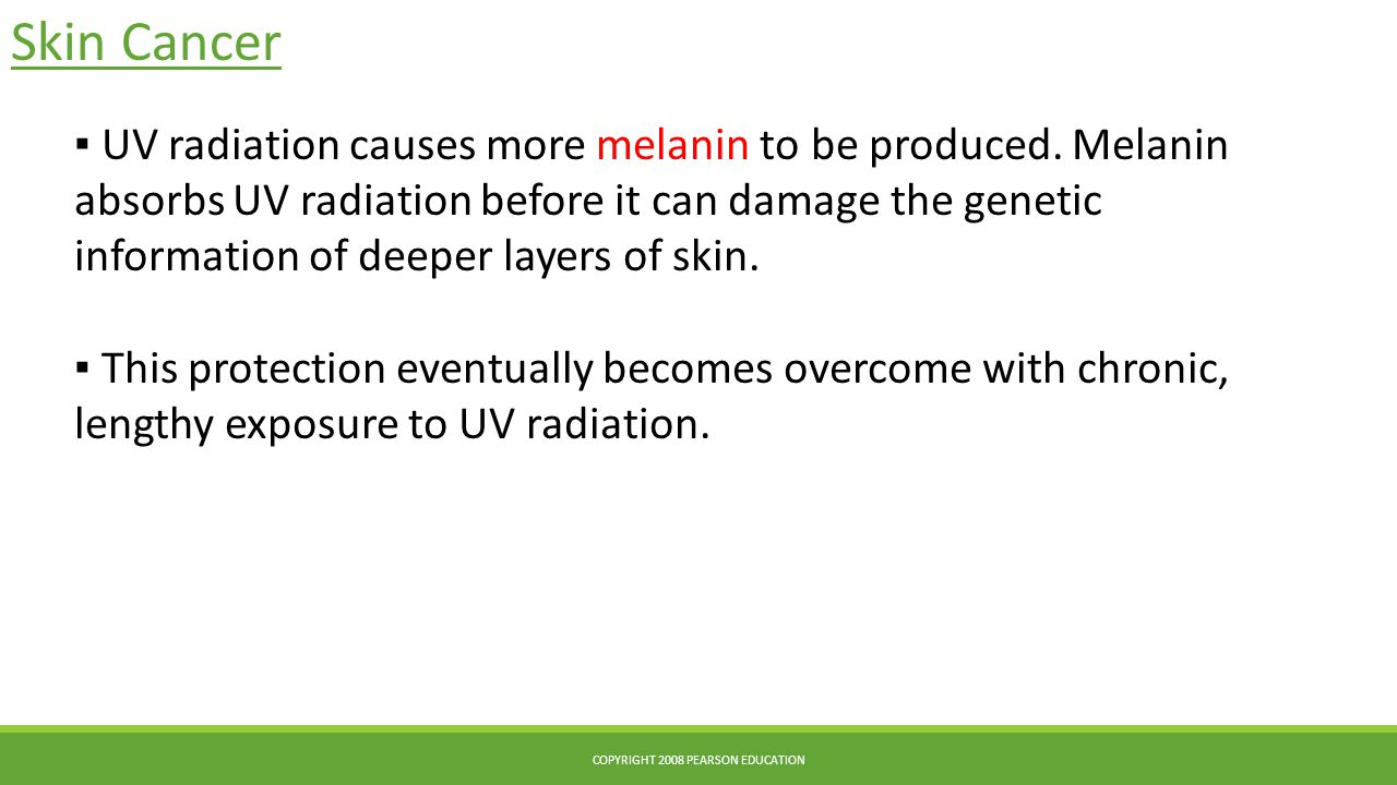 Skin Cancer COPYRIGHT 2008 PEARSON EDUCATION ▪ UV radiation causes more melanin to be produced.