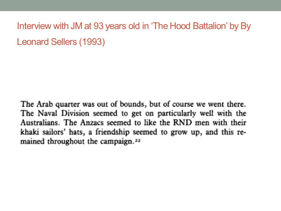Interview with JM at 93 years old in 'The Hood Battalion' by By Leonard Sellers (1993)