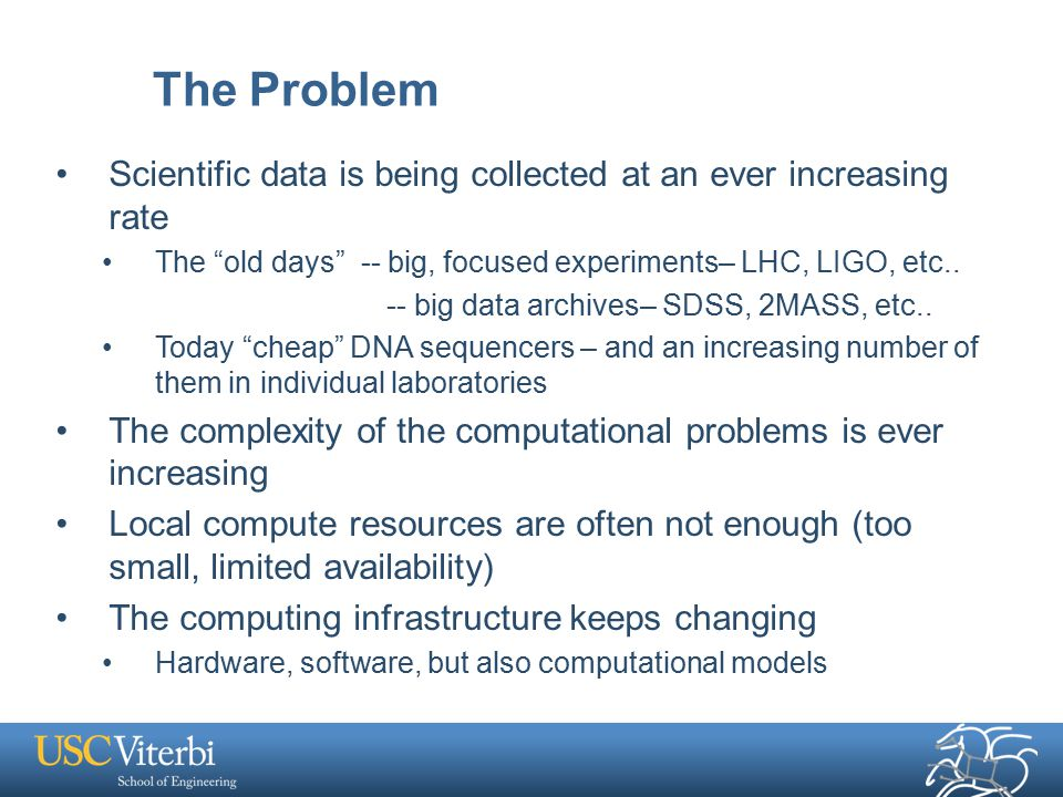 The Problem Scientific data is being collected at an ever increasing rate The old days -- big, focused experiments– LHC, LIGO, etc..