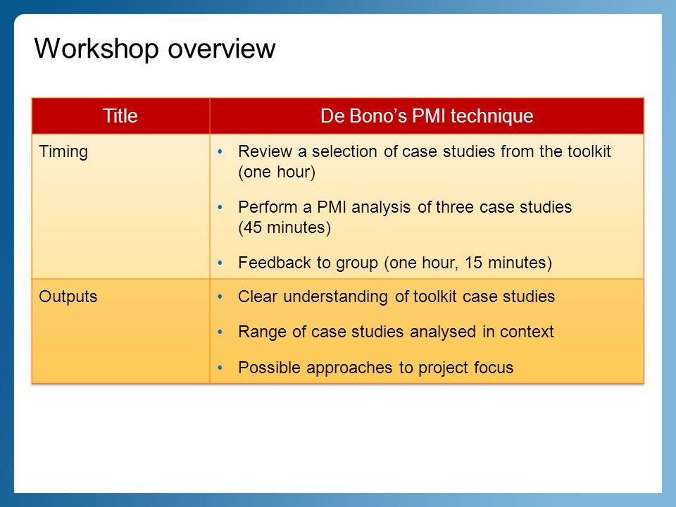 What is PMI.The PMI (plus, minus, interesting) model was developed by Edward De Bono.