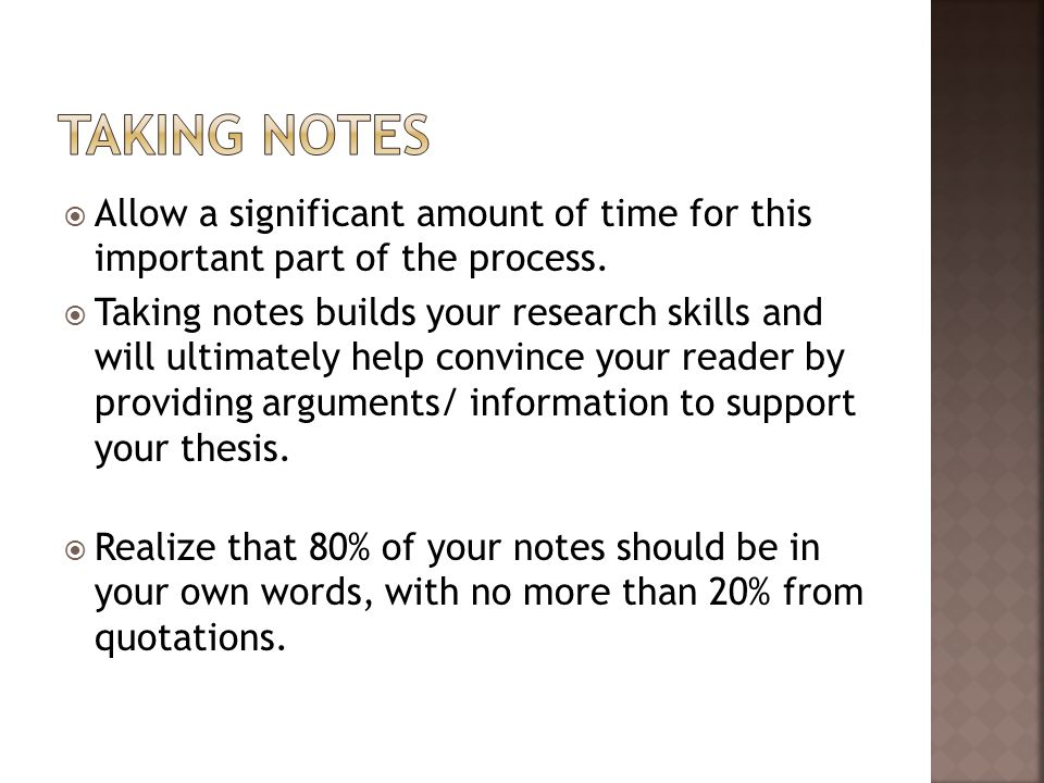  If you are typing your notes into a Microsoft ® Word document, you may create note cards.
