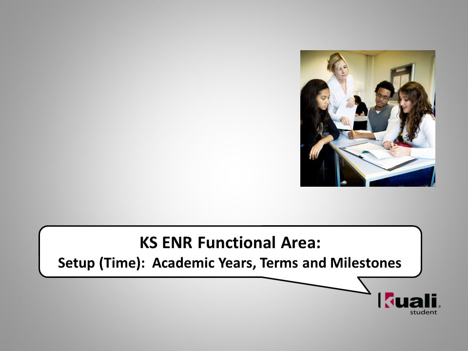 KS ENR Functional Area: Setup (Time): Academic Years, Terms and Milestones
