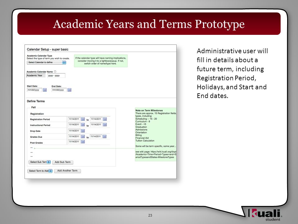 23 Academic Years and Terms Prototype Administrative user will fill in details about a future term, including Registration Period, Holidays, and Start and End dates.