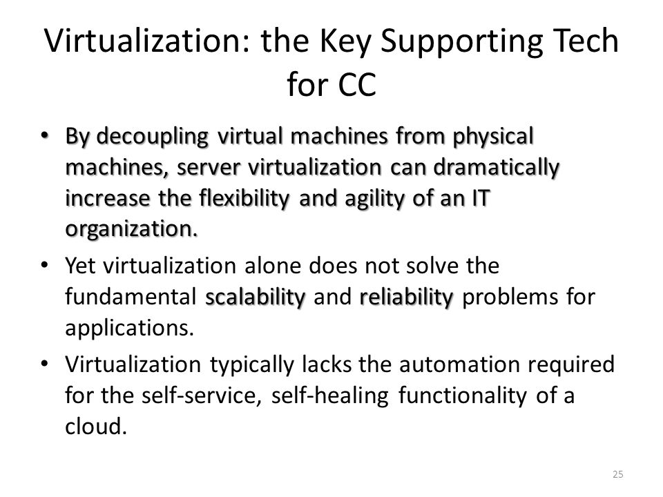 Virtualization: the Key Supporting Tech for CC By decoupling virtual machines from physical machines, server virtualization can dramatically increase