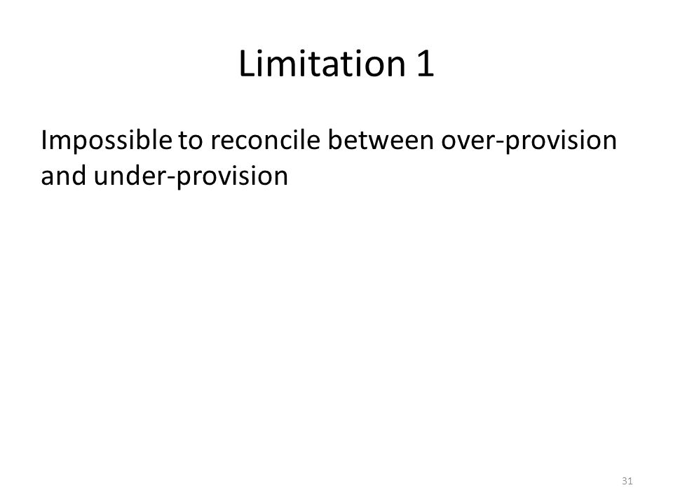 Limitation 1 Impossible to reconcile between over-provision and under-provision 31