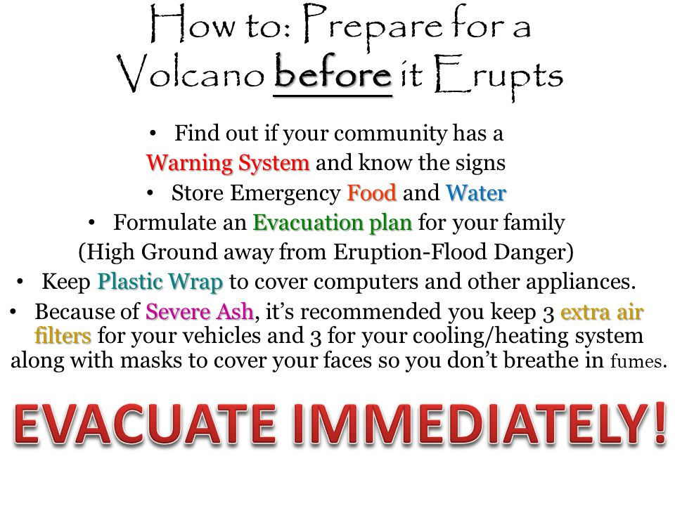 how to prepare for volcanoes