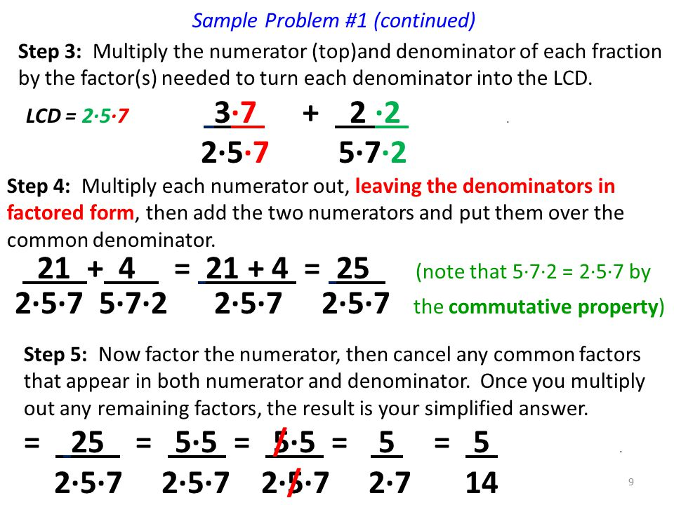 Sample Problem #1 (continued) Step 3: Multiply the numerator (top)and denominator of each fraction by the factor(s) needed to turn each denominator into the LCD.