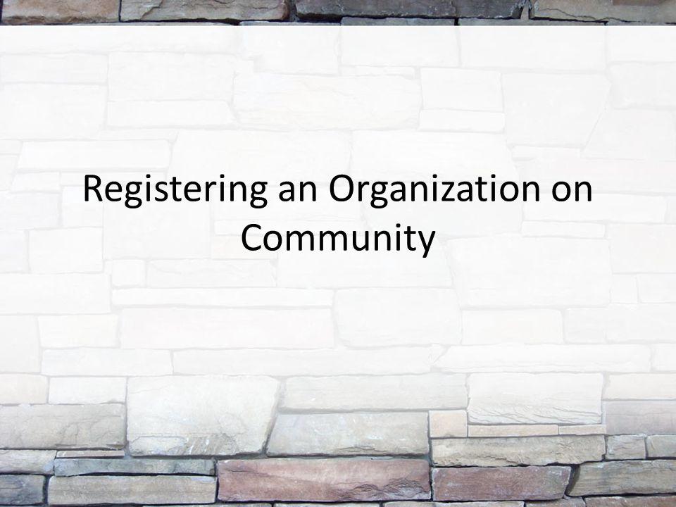 Registering an Organization on Community