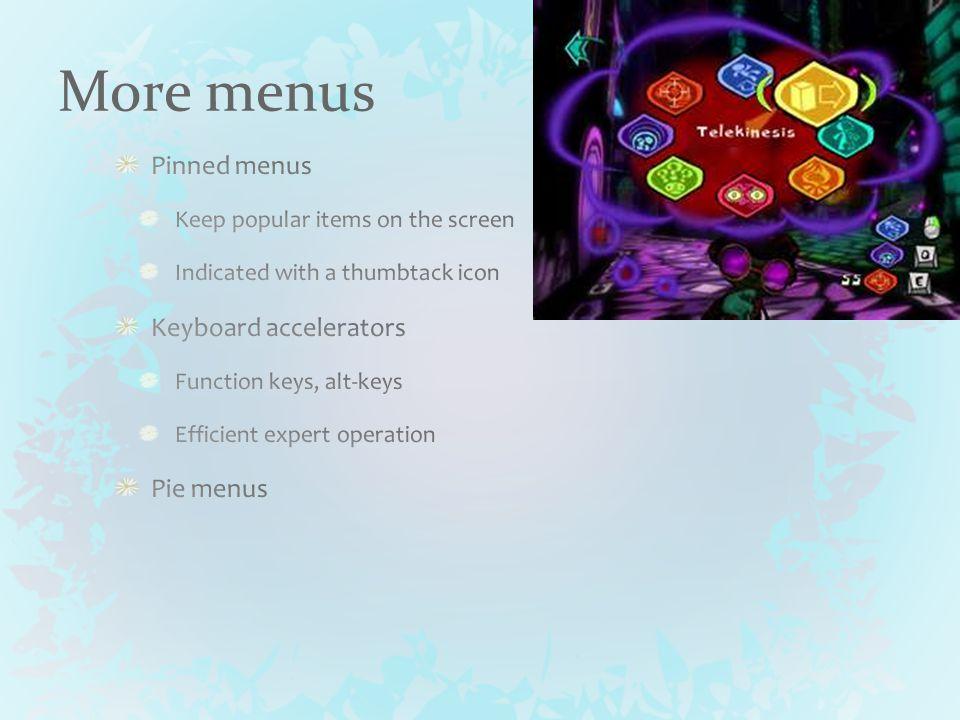 More menus