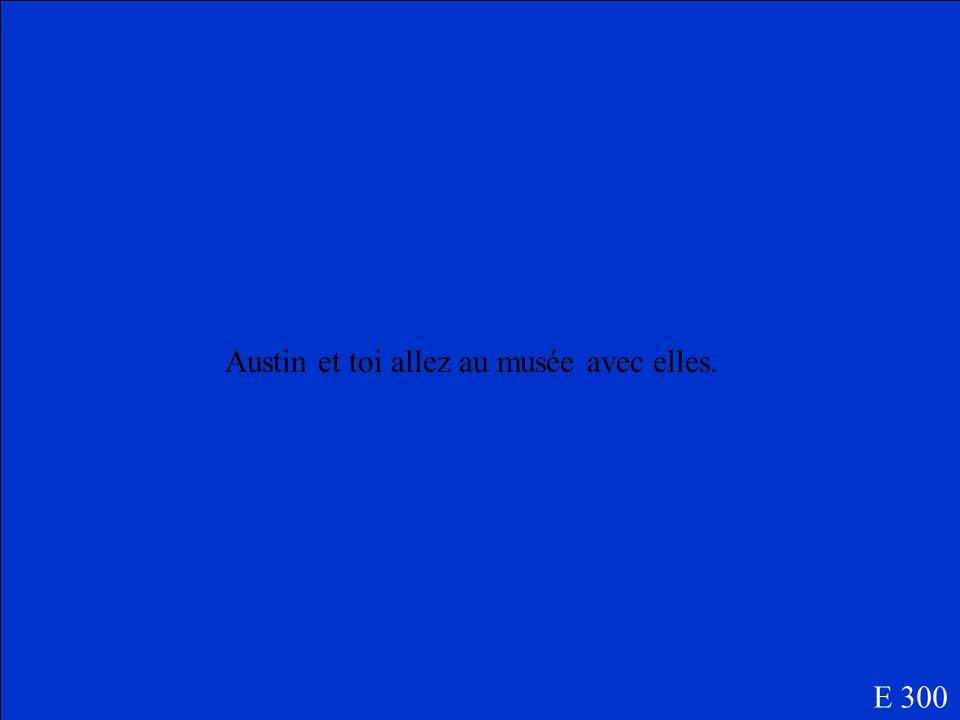 What is a sentence with the following prompts, Austin/ toi/ aller/ musée/ elles E 300