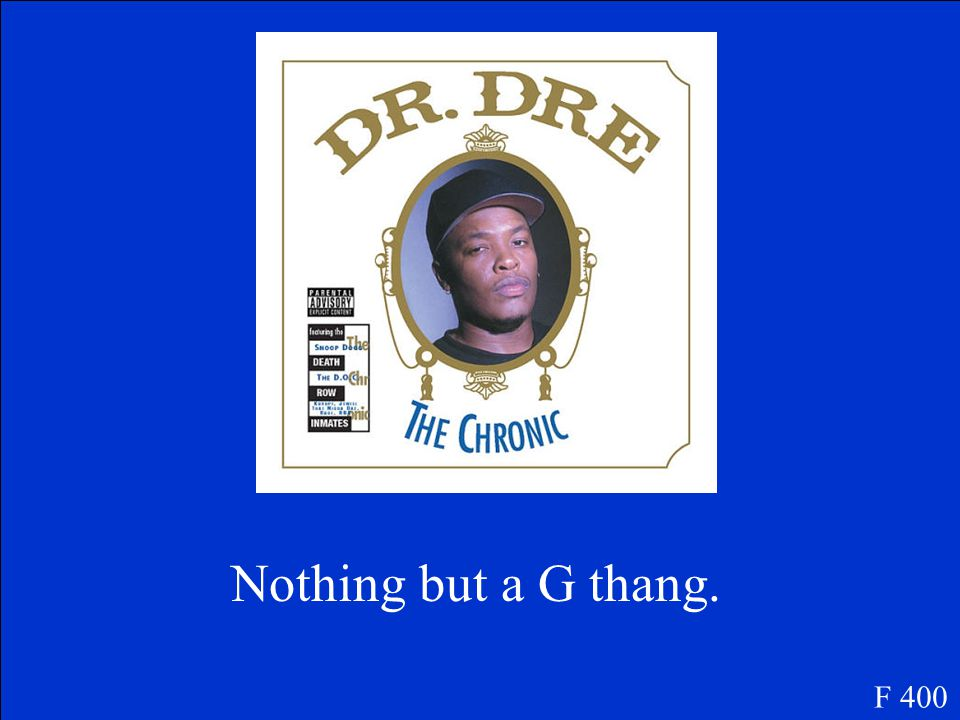 What was Dr. Dre's first big hit? F 400