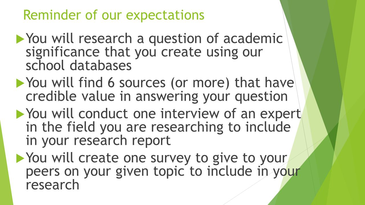 Reminder of our expectations  You will research a question of academic significance that you create using our school databases  You will find 6 sources (or more) that have credible value in answering your question  You will conduct one interview of an expert in the field you are researching to include in your research report  You will create one survey to give to your peers on your given topic to include in your research