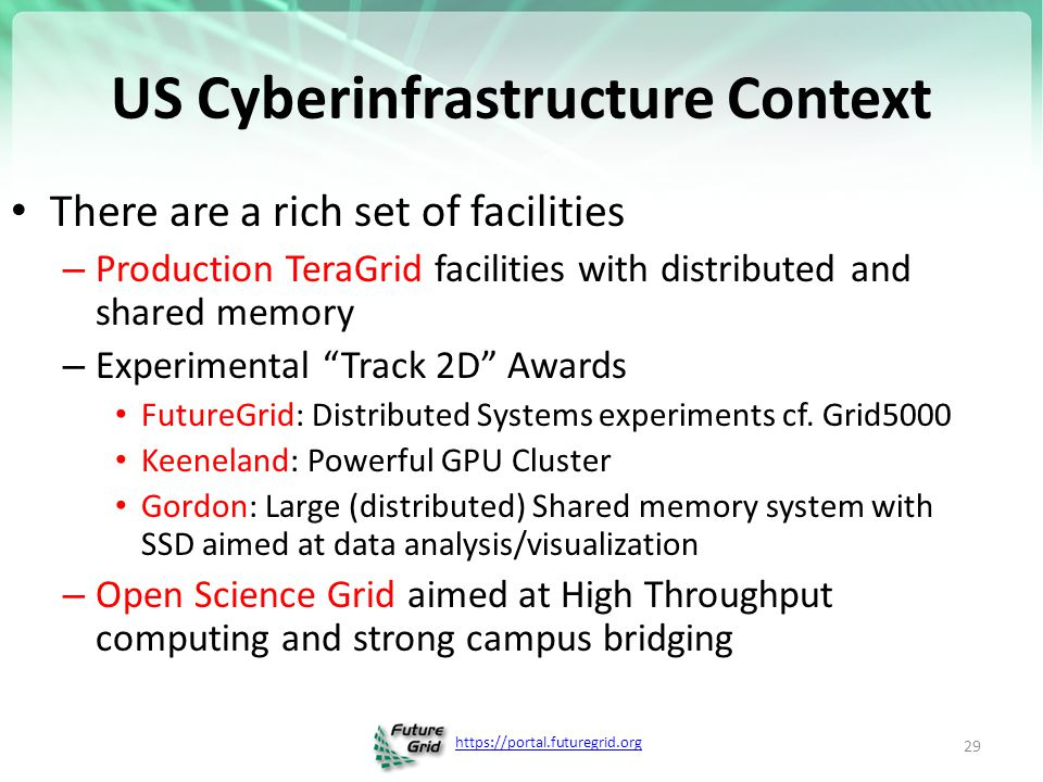 https://portal.futuregrid.org US Cyberinfrastructure Context There are a rich set of facilities – Production TeraGrid facilities with distributed and shared memory – Experimental Track 2D Awards FutureGrid: Distributed Systems experiments cf.