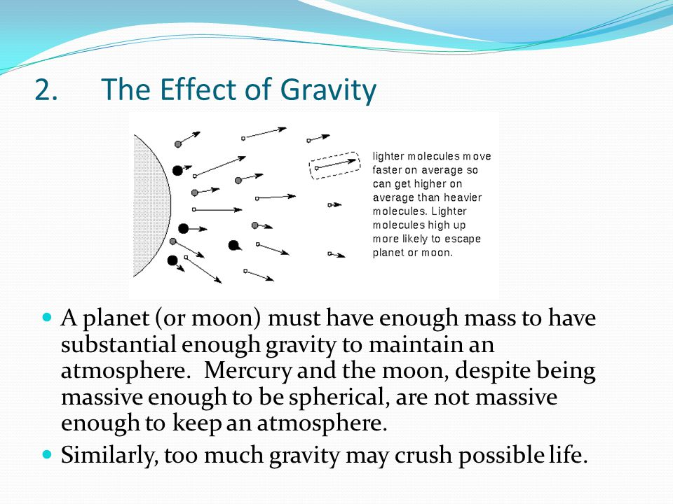 2.The Effect of Gravity A planet (or moon) must have enough mass to have substantial enough gravity to maintain an atmosphere. Mercury and the moon, d