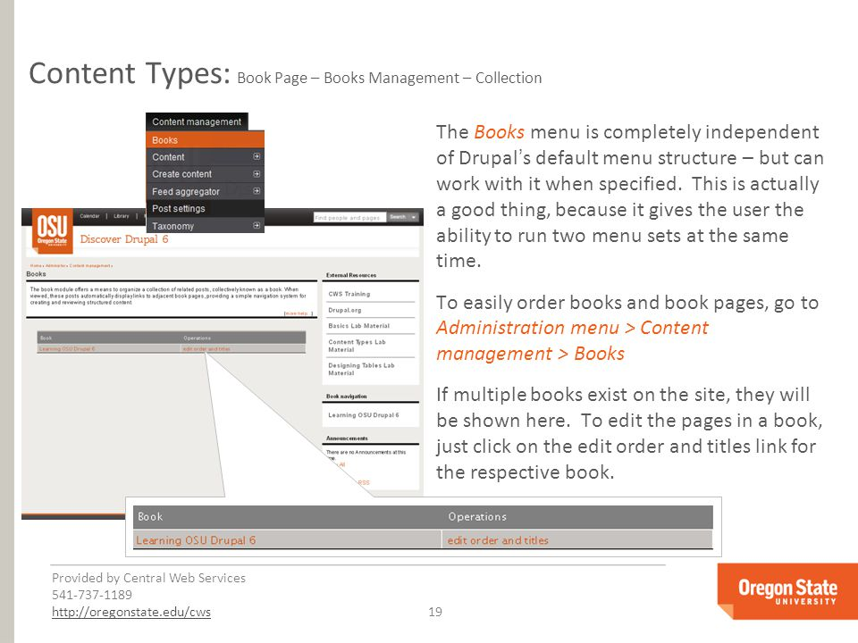 Provided by Central Web Services 541-737-1189 http://oregonstate.edu/cwshttp://oregonstate.edu/cws 19 Content Types: Book Page – Books Management – Collection The Books menu is completely independent of Drupal's default menu structure – but can work with it when specified.