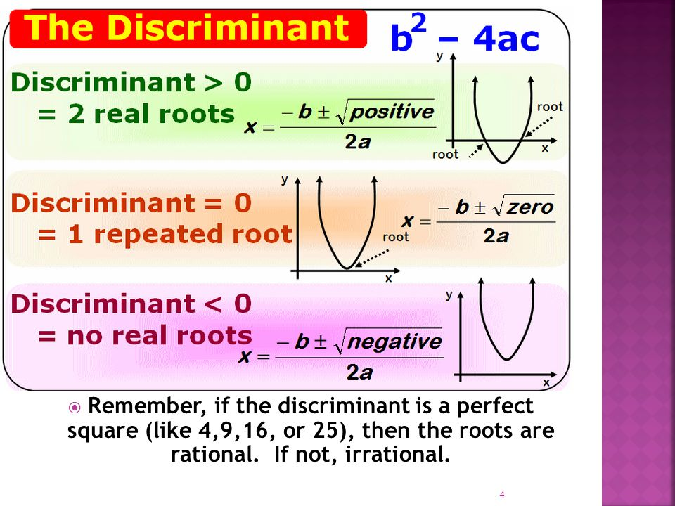  Remember, if the discriminant is a perfect square (like 4,9,16, or 25), then the roots are rational.