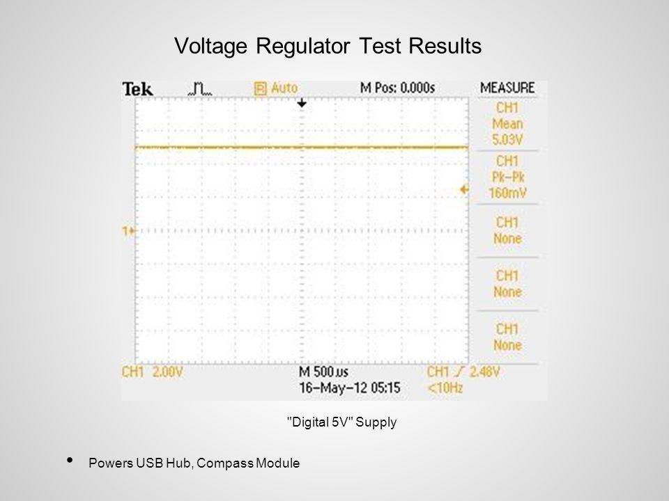 Voltage Regulator Test Results Digital 5V Supply Powers USB Hub, Compass Module